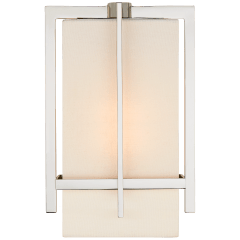 Milo Small Sconce in Polished Nickel with Linen Shade