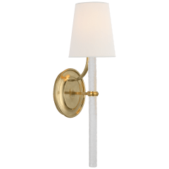Abigail Large Sconce in Soft Brass and Clear Wavy Glass with Linen Shade