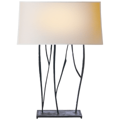 Aspen Console Lamp in Black Rust with Natural Paper Shade