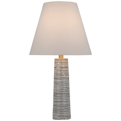 Gates Medium Column Table Lamp in Malt White Dust with Linen Shade