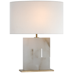 Ashlar Medium Table Lamp in Alabaster and Hand-Rubbed Antique Brass with Linen Shade