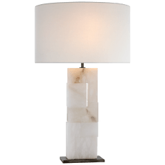 Ashlar Large Table Lamp in Alabaster and Bronze with Linen Shade