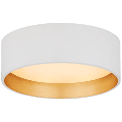 "Shaw 5"" Solitaire Flush Mount in Matte White and Gild with White Glass"