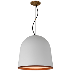 Murphy Medium Pendant in Plaster White and Dark Teak