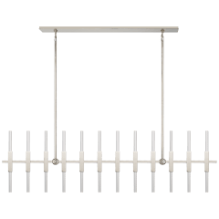 Palomar Large Transforming Linear Chandelier in Polished Nickel with Clear Acrylic