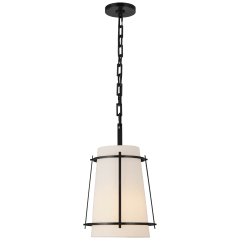 Callaway Small Hanging Shade in Bronze with Linen Shade and Frosted Acrylic Diffuser