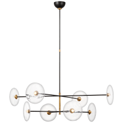 Calvino X-Large Radial Chandelier in Aged Iron and Hand-Rubbed Antique Brass with Clear Glass