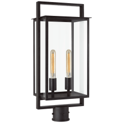 Halle Medium Post Lantern in Aged Iron with Clear Glass