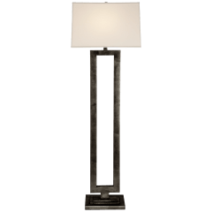 Modern Open Floor Lamp in Aged Iron with Linen Shade