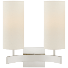 Aimee Double Sconce in Polished Nickel with Linen Shades