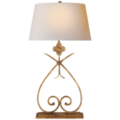 Harper Table Lamp in Gilded Iron with Natural Paper Shade