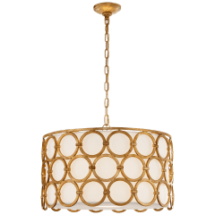 Alexandra Medium Hanging Shade in Gilded Iron with Linen Shade
