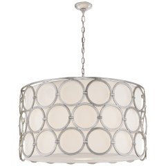 Alexandra Large Hanging Shade in Burnished Silver Leaf with Linen Shade