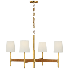 Elle Large Chandelier in Hand-Rubbed Antique Brass and Dark Rattan with Linen Shades