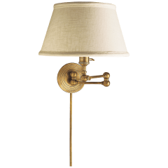 Boston Swing Arm in Hand-Rubbed Antique Brass with Linen Shade