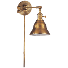 Boston Swing Arm in Hand-Rubbed Antique Brass with SLE Shade
