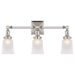 Boston Square Triple Light Sconce in Polished Nickel with Frosted Glass
