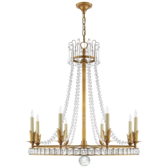 Regency Large Chandelier in Hand-Rubbed Antique Brass with Seeded Glass