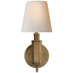 Longacre Sconce in Hand-Rubbed Antique Brass with Natural Paper Shade