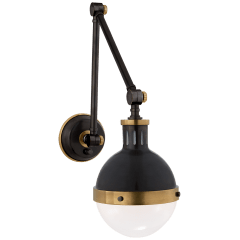 Hicks Library Light in Bronze and Hand-Rubbed Antique Brass with White Glass