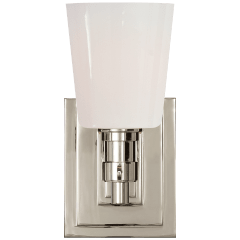 Bryant Single Bath Sconce in Polished Nickel with White Glass