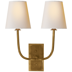 Hulton Double Sconce in Hand-Rubbed Antique Brass with Crystal Backplate and Natural Paper Shades