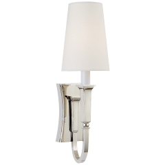 Delphia Small Single Sconce in Polished Nickel with Linen Shade