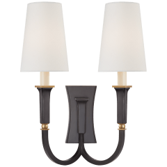 Delphia Large Double Arm Sconce in Bronze and Hand-Rubbed Antique Brass with Linen Shade