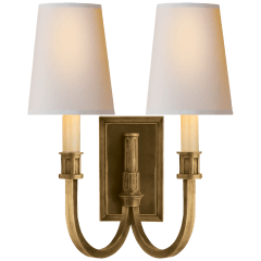 Modern Library Double Sconce in Hand-Rubbed Antique Brass with Natural Paper Shades