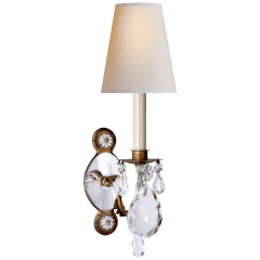 Yves Crystal Single Arm Sconce in Gilded Iron and Crystal with Natural Percale Shade