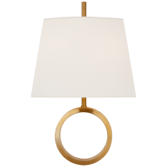 Simone Small Sconce in Hand-Rubbed Antique Brass with Linen Shade