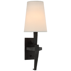 Francesco Single Sconce in Aged Iron with Linen Shade