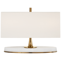 Casper Small Desk Lamp in Hand-Rubbed Antique Brass and Alabaster with Linen Shade