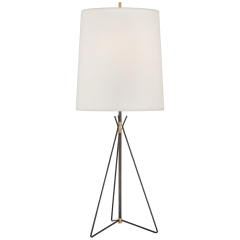 Tavares Large Table Lamp in Aged Iron and Hand-Rubbed Antique Brass with Linen Shade