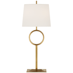 Simone Medium Buffet Lamp in Hand-Rubbed Antique Brass with Linen Shade