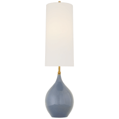 Loren Large Table Lamp in Polar Blue Crackle with Linen Shade