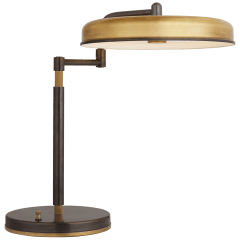 Huxley Swing Arm Desk Lamp in Bronze and Hand-Rubbed Antique Brass