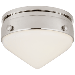 """Gale 5.5"""" Solitaire Flush Mount in Polished Nickel with White Glass"""