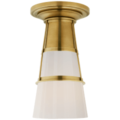 Robinson Medium Flush in Hand-Rubbed Antique Brass with White Glass