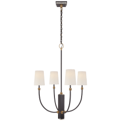 Hulton Medium Chandelier in Bronze and Hand-Rubbed Antique Brass with Linen Shades