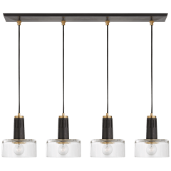 Iris Quatro Linear Pendant in Bronze and Hand-Rubbed Antique Brass with Clear Glass