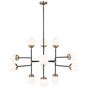 Cafe Twelve Light Large Chandelier Satin Brass Bulbs Inc