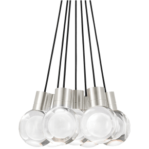 Mina Pendant 7-LITE Chandelier Clear satin nickel 3000K-2200K 90 CRI LED 120v (t24)
