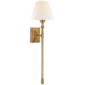 Jane Large Single Tail Sconce in Hand-Rubbed Antique Brass with Linen Shade