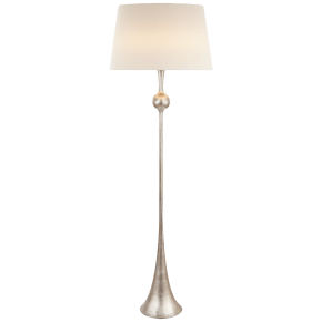 Dover Floor Lamp in Burnished Silver Leaf with Linen Shade