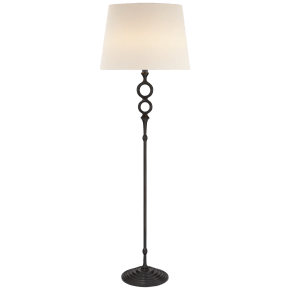 Bristol Floor Lamp in Aged Iron with Linen Shade