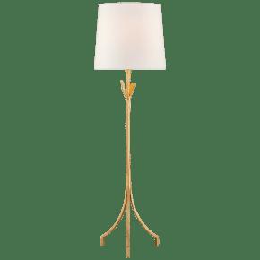 Fliana Floor Lamp in Gild with Linen Shade