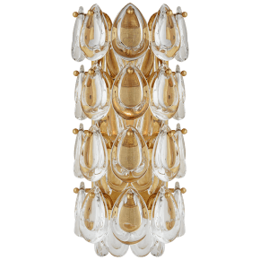 "Liscia 12"" Sconce in Gild with Crystal"