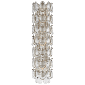 "Liscia 22"" Sconce in Burnished Silver Leaf with Crystal"