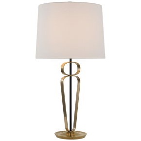 Valda Large Table Lamp in Hand-Rubbed Antique Brass and Matte Black with Linen Shade